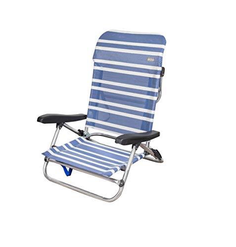 Aktive 62603 Silla baja playa 5 posiciones rayas azul, 61 x 66 x 95 cm