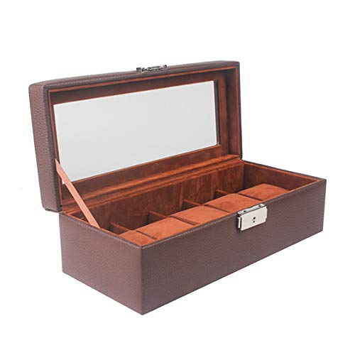 Soporte Para Relojes de Caja de Almacenamiento Abrir ventana simple caja de reloj de cuero de la PU de 5 dígitos reloj de Brown Caja de almacenamiento caja de exhibición de la joyería Caja de empaquet