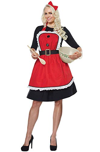 California Costumes Women's Mrs. Claus Apron - Adult Costume Adult Costume, -Red, One Size