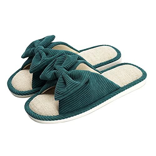 Pantuflas Zapatillas De Casa para Hombre para Mujer Punta Abierta Retro Bowknot Pana Diseño Superior Zapatillas para Mujer Lino Transpirable Zapatos De Mujer Interior Exterior Suela De PVC