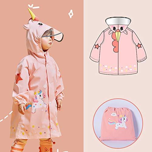 GFFTYX Veste Enfants Pluie - Enfants Raincoat Poncho for Filles garçons Pluie Dinosaur Manteau de Veste de Costume Jaune Outwear for Les Enfants en Bas âge (Color : Pink, Size : M)