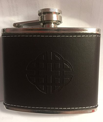 FANCYTHAT and SCIFI PLANET Stainless Steel & Leather Celtic Hip Flask