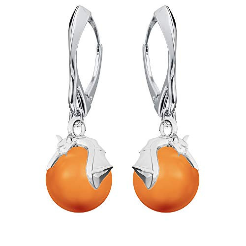 **Beforya Paris** - Fledermaus - Ohrringe - Farben Varianten !! - Silber 925 Schön Damen Ohrringe mit Perlen von Swarovski - Halloween - Wunderbare Ohrringe mit Geschenkbox PIN/75 (Neon Orange)