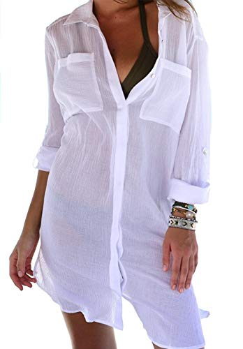 JFAN Camicia Lunga Donna Vestito Colletto in Piedi Abito in Camicie Forti A Manica Elegante Tinta Unita Casual per Primavera