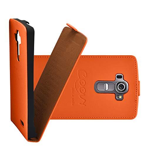 COOVY® Custodia per LG G4 H815 (5,5 Zoll) Slim Flip Cover Case della Copertura di Vibrazione Protezione, Pellicola Protettiva per Schermo | Colore Arancio