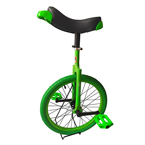 JLXJ Yellow/green Unicycles for Adults Kids, Steel Frame, 20 Inch Heavy Duty One Wheel Balance Bike for Teens Woman Boy, Mountain Outdoor (Color : Green)