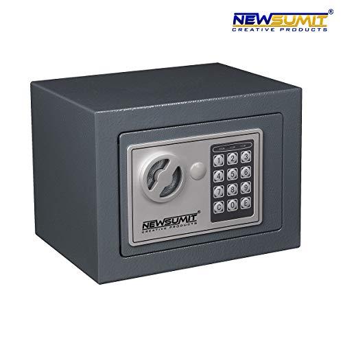 NEWSUMIT - Caja Fuerte Electronica con Llaves para Hogar, Oficina - Empotrable en Pared o Suelo (23x17x17cm). (Gris)