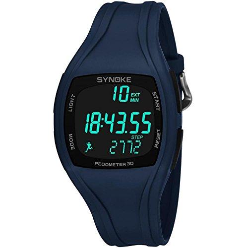 Reloj Deportivo Digital para Estudiantes de Hombre con Banda de Plástico PU Podómetro Alarma Luminosa 50M a Prueba de Agua(Azul marino)