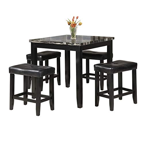 Knocbel Counter Height Dining Table Set, 5-Piece Kitchen Pub Dining Room Set with Faux Marble Square Table & PU Leather Cushioned Saddle Stools for Small Space (Faux Marble and Black)