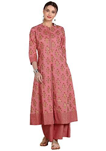 Kurta - Conjunto de algodón para mujer con diseño indio Palazzo Kurti para mujer, Rosado-1, XXL