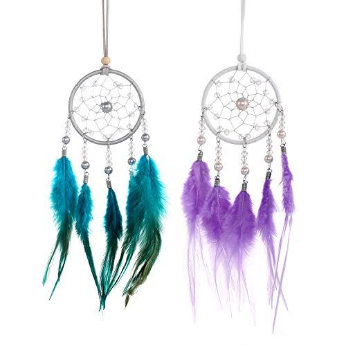 2 atrapasueños con plumas, hecho a mano, decoración para la pared del hogar, decoración para el coche, boda, dormitorio, regalo