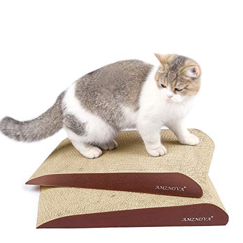 AMZNOVA Rascador inclinado para gatos de cartón, resistente
