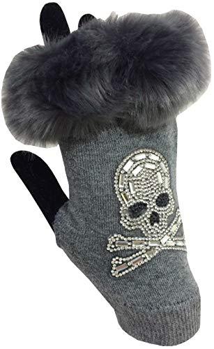 Vexcon Damen Handschuhe fingerlos Halbhandschuhe mit Fell und Straß