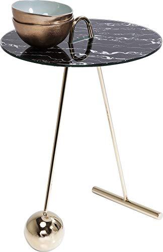 Kare Design bijzettafel Touch Duo, ronde bijzettafel voor de woonkamer met gouden voet en zwarte glasplaat in marmer-look Ø46cm (H/B/D) 53 46