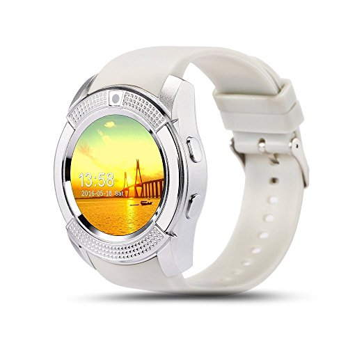 Bluetooth Smart Watch,Wrist Watch Bracelet with SIM Card Slot Camera Phone Calls Pedometer Music Playing Alarm Clock Smartwatch for Android Phone (White)