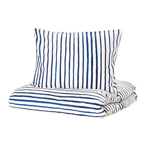IKEA Sanglarka Duvet Cover and Pillowcases Stripe Blue White 504.269.63 Size Twin