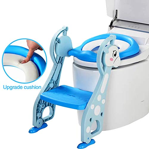 DONG Bebé Niños/Niño/Niño Aseo Entrenamiento Insignificante Asiento Escalera Plegable WC Pasos Asistente para IR Al Baño Niño Trainer WC,Azul,Hard Pad