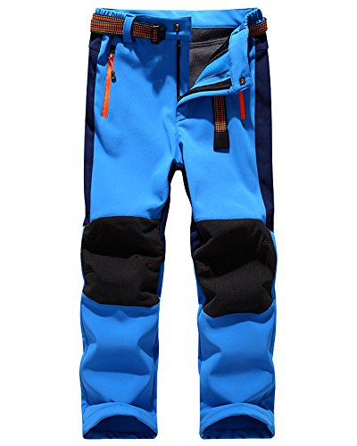 Jessie Kidden Kids' Outdoor Hiking Soft Shell Windproof Pants, Warm Climbing Trousers for Boys Girls #16010-Light Blue,US S(Tag M)