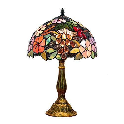 Hobaca 12 Zoll Pastoral Buntglas Trauben und Blumen Tiffany Tischlampe Handgemacht Art Dekorative Nostalgie Nachttischlampe Schlafzimmer Wohnzimmer Lampe