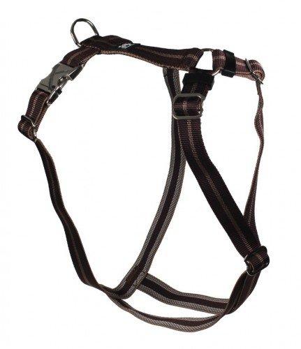 Feltmann Premium Hundegeschirr mit Alu-Max®, Soft- Nylonband, 70-90cm, 25mm, Streifen braun