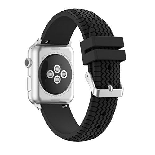 x-super iWatch Band 38mm Reifenprofil Sport Silikon Apple Armbanduhr Gummi Riemen für Nike +, Serie 2, Serie 1, Sport, Edition, schwarz
