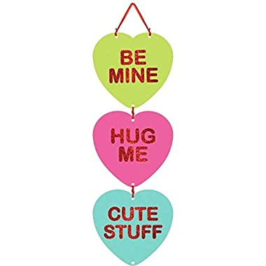 Blushing Valentine's Day Candy Heart Medium Sign with Ribbon Hanger Party Decoration, Board, 18  x 6 ,