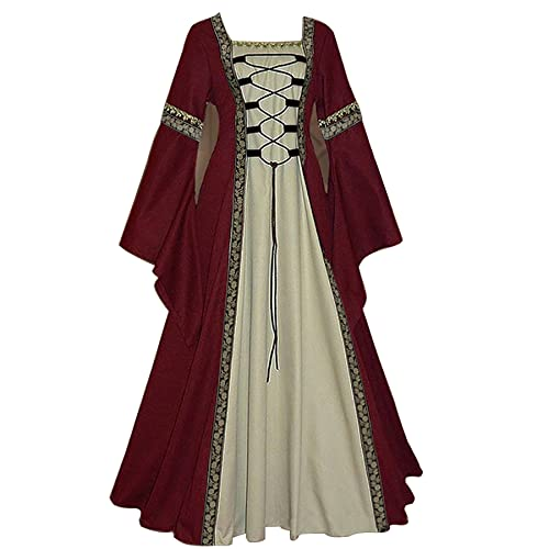 WXDSNH Vestido De Mujer Cuello Cuadrado Largo Manga Larga Manga De Trompeta Gótico Retro Traje Medieval Halloween Noble Palacio Vestidos Fiesta De Carnaval