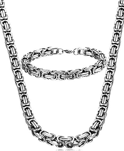 LOLIAS Joyas Conjunto de Pulsera Collar para Hombre Cadena Masculina de Acero Inoxidable Cadena Bizaatina de Rey King Collar 55cm Pulsera 21.5cm Plata