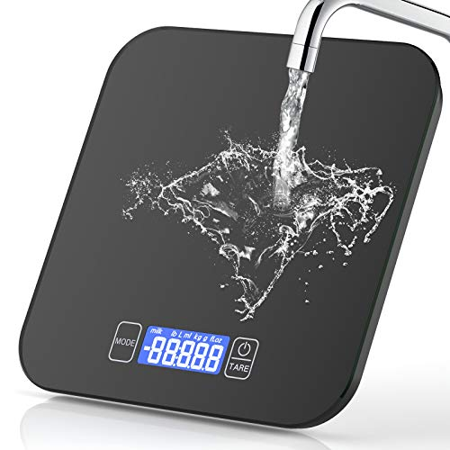 Digitale Küchenwaage, 15kg/33lb Digitalwaage Digital Küchenwaagen Elektronische Waage Küche Haushaltswaage Hochpräzise Lebensmittelwaage LCD Display mit Großer Sicherheitsglas Wiegefläche und Tara
