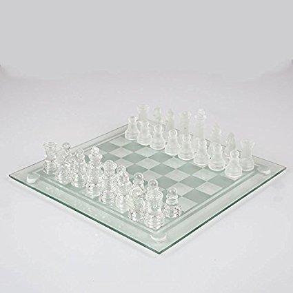 Glass Chess Juego de ajedrez de Cristal 20cm X 20cm, 32 Piezas de ajedrez de Vidrio, Mayores de 8 años, Piezas de Cristal Esmerilado y Transparente y Tablero de Vidrio.