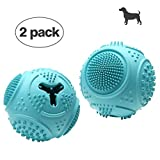 VANFINE Ball Dog Toy - Dog Ball - Jolly Ball for Dogs - Set of 2 Dog Toys Balls - Medium 2.8' Interactive Rubber Ball Food Dispensing Dog Toy IQ Training Teeth Cleaning Playing (Blue)