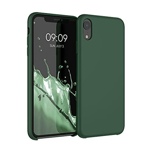 kwmobile Carcasa Compatible con Apple iPhone XR - Funda de Silicona para móvil - Cover Trasero en Verde Oscuro
