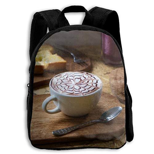 Kinder-Büchertasche, langlebig, lustiger Rucksack, lässiger Tagesrucksack, Reiserucksack – Blume, Kaffee, Marmelade, Brot