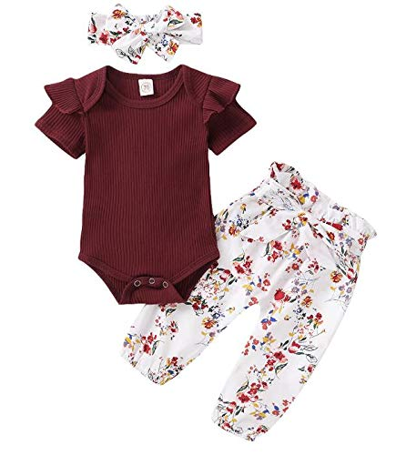 Princess Toddler Infant Baby Girl Tops de Mameluco de Manga Corta Pantalones de Flores Conjunto de Ropa (Wine Red, 0-3m)