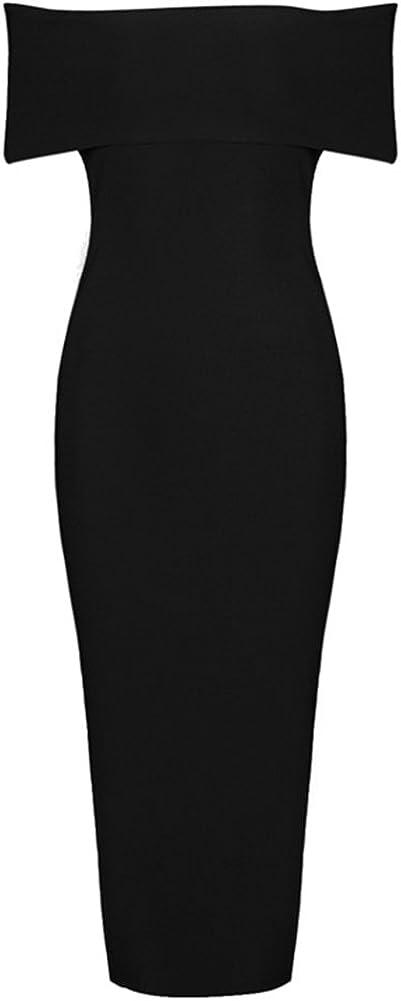 whoinshop Women's Off The Shoulder Side Split Elegant Cocktail Dress