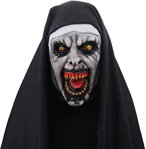 The Nun Masker, Halloween masker Scary Female Ghost Hoofddeksels Nun Devil Horror Mask, Deluxe Latex Vol Head Halloween Cosplay Costume lsmaa