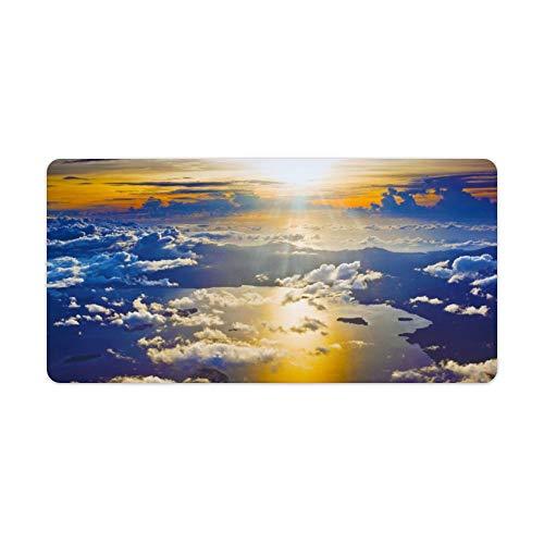Desk Mat Ontgrendeld Zonsondergang Van Een Vliegtuig Behang Rubber Mat, Office Bureau Mat, Laptop Bureau Mat, Waterdichte Bureau Boek Mat, 30x60cm, Kleur: wit