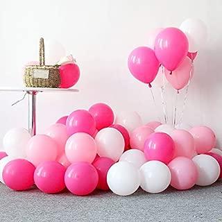 100PCS Latex balloon 12 Inch Thick Round Balloon (white& rose red& pink) Wedding Party Birthday Ballon