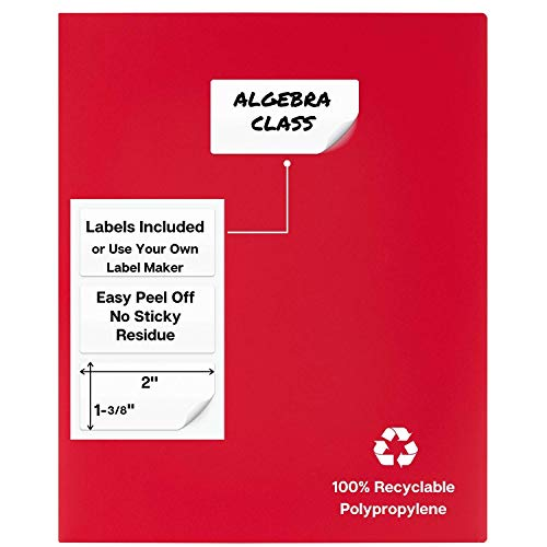 Dunwell Colored Pocket Folders, 2-Pocket File Folders (12 Pack, 6 Assorted Colors + 6 Red) School Folders, Plastic Folders with Labels, Two Pocket Folders, Letter Size File Folders with Pockets Photo #4