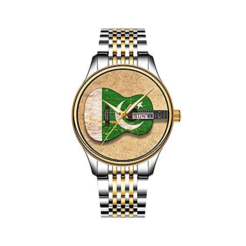 Reloj de pulsera para hombre, mecanismo de cuarzo, fecha, acero inoxidable, pulsera dorada, bandera de Pakistán, guitarra acústica