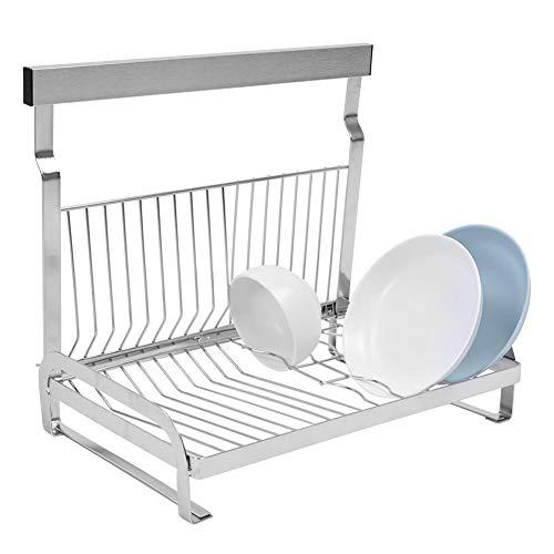 Escurreplatos de acero inoxidable plegable con bandeja de goteo Dittzz para colgar platos de almacenamiento