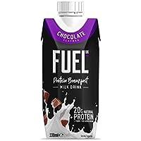 Batido para el desayuno de leche con chocolate FUEL10K con alto contenido proteico, 330 ml, paquete de 8