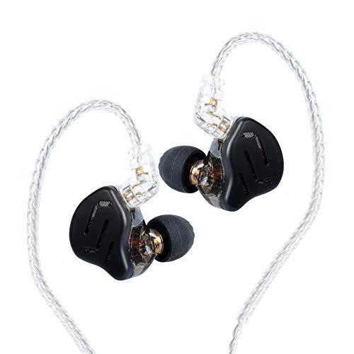 KZ ZAX 1DD 7BA HIFI - Auriculares in-ear con monitor de músico, auriculares híbridos de metal con cable de auriculares desmontable (sin micrófono, negro)