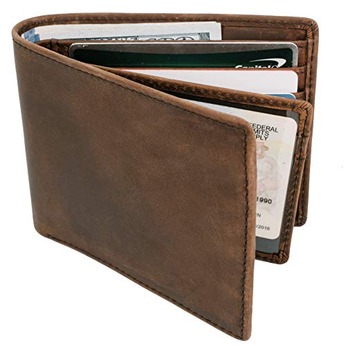 Top Grain Leather Wallet for Men   Ultra Strong Stitching   Handcrafted Argentinian Leather   RFID Blocking   Slim and Stylish Bifold Wallet with Center Flap ID Window   Extra Capacity Billfold with 14 Card Slots   Perfect Gift for Him