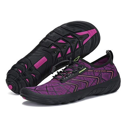 Women Water Shoes Quick-Drying Athletic Aqua Shoes Men Barefoot Sports Water Shoe Swim Shoes Beach Shoes Surf Shoes Water Aerobics Jogging Yoga Shoes, Purple 5.5 Women/4 Men