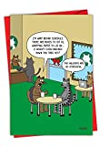 Stressful Holidays - Funny Christmas Greeting Card with Envelope (4.63 x 6.75 Inch) - Hilarious Kitty Cats in Coffee Shop, Happy Holidays Note Card - Humorous Animal Cartoon Stationery C4530XSG