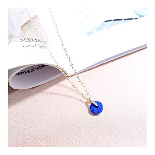 Perlenkette Gelbes Jade Lapislazuli Anhänger mit 4-5mm runden Perlen-Halskette for Frauen (Gem Color : Blue Lapis, Size Per Pearl : 4.5 5mm)