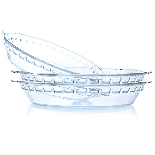 Kingrol 3 Pack 9 Inch Pie Plates, Glass Pie Baking Pans with Handles
