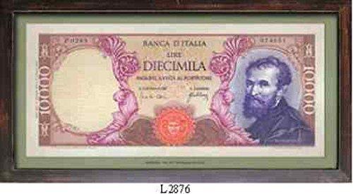 BANCONOTA LIRA ITALIANA 10.000 QUADRO CORNICE LEGNO INSEGNA PUB VINTAGE