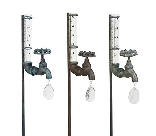 small Echo Valley 5520A3 Rain Gauge Faucet, Garden Stake Set, Green Rusty Green (3 packs)